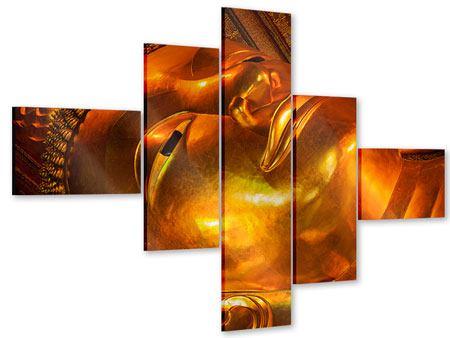 Acrylglasbild 5-teilig modern Liegender Buddha