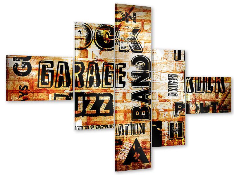 Acrylglasbild 5-teilig modern Rock im Grungestil