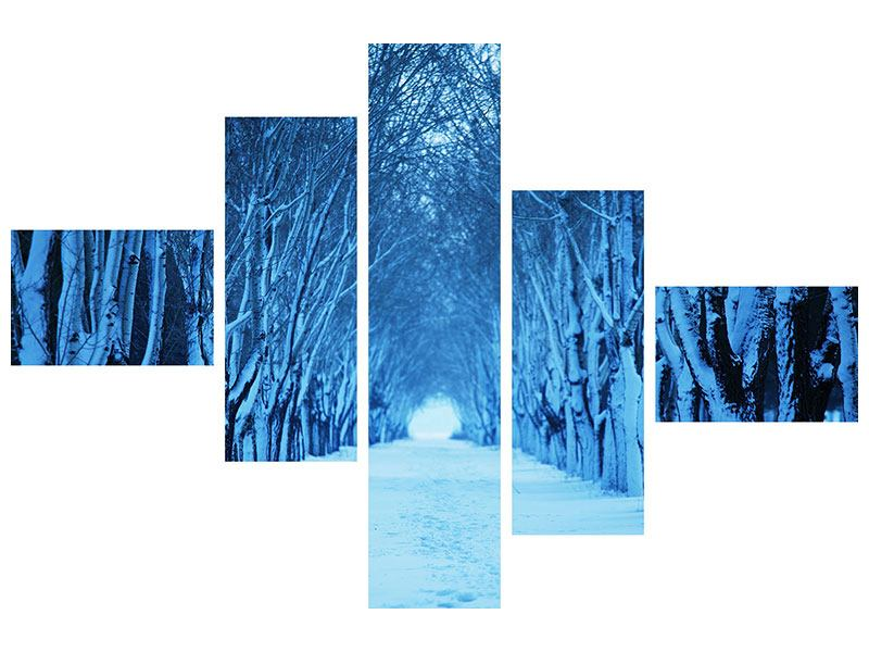 Acrylglasbild 5-teilig modern Winterbäume
