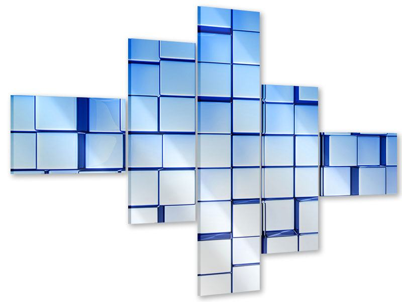 Acrylglasbild 5-teilig modern 3D-Symetrie