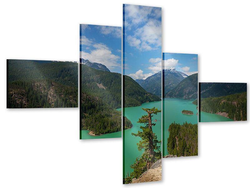 Acrylglasbild 5-teilig modern Diablo Bergsee