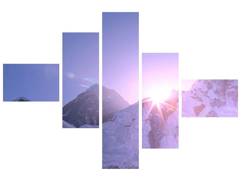 Acrylglasbild 5-teilig modern Sonnenaufgang beim Mount Everest