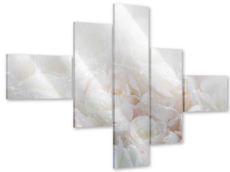 Acrylglasbild 5-teilig modern Weisse Rosen im Morgentau