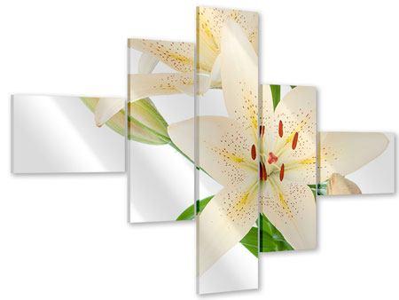 Acrylglasbild 5-teilig modern Weisser Lilienstrauch