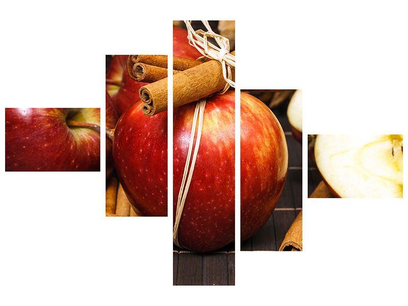 Acrylglasbild 5-teilig modern Äpfel
