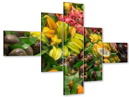 Acrylglasbild 5-teilig modern Früchte