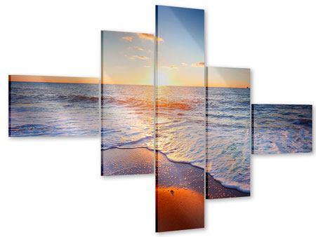 Acrylglasbild 5-teilig modern Sonnenuntergang am Horizont