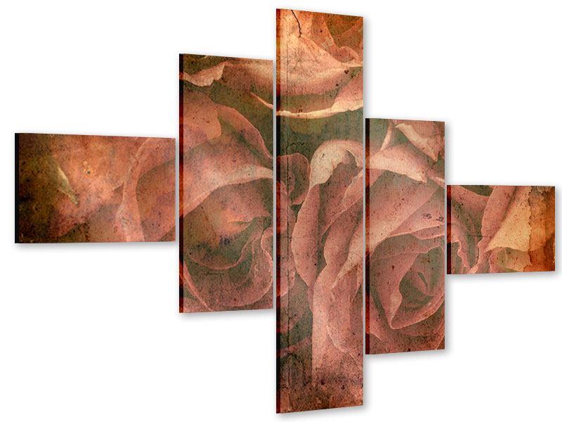 Acrylglasbild 5-teilig modern Rosenbukett