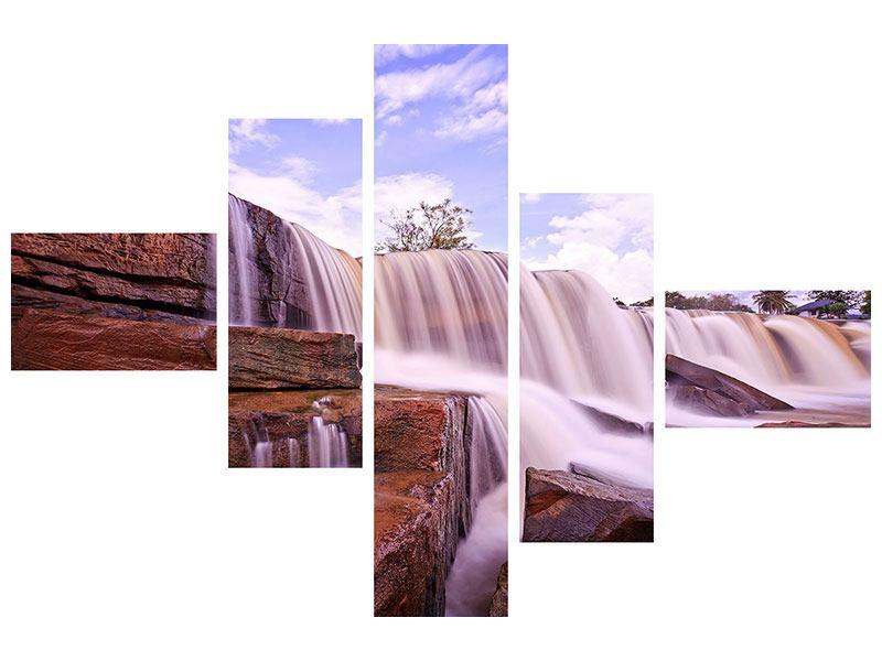 Acrylglasbild 5-teilig modern Himmlischer Wasserfall
