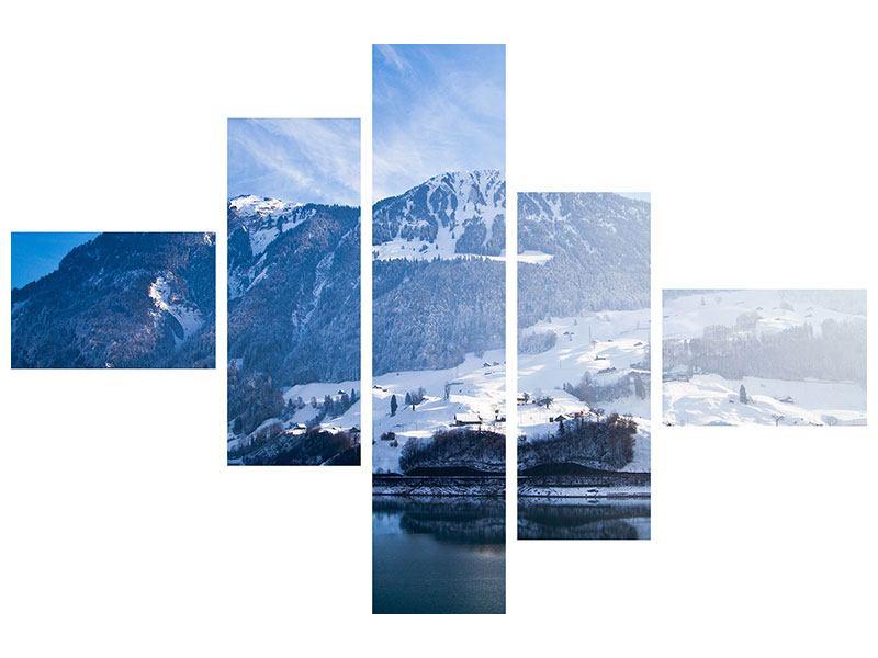 Acrylglasbild 5-teilig modern Winterwunderland