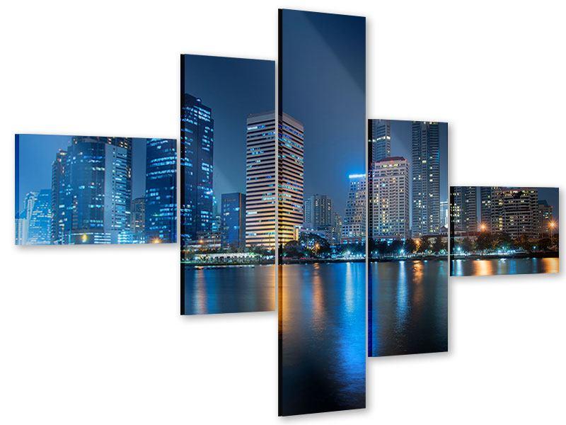 Acrylglasbild 5-teilig modern Skyline Bangkok bei Nacht