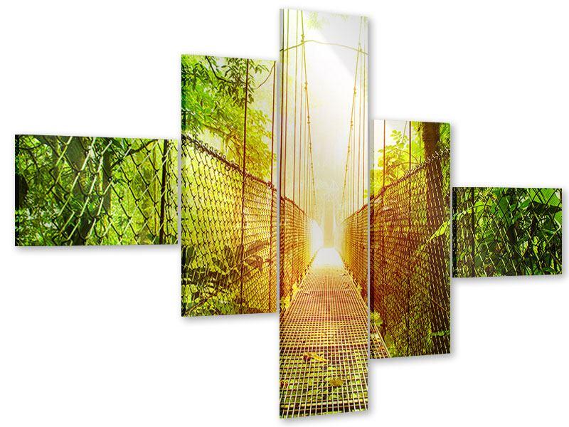 Acrylglasbild 5-teilig modern Hängebrücke