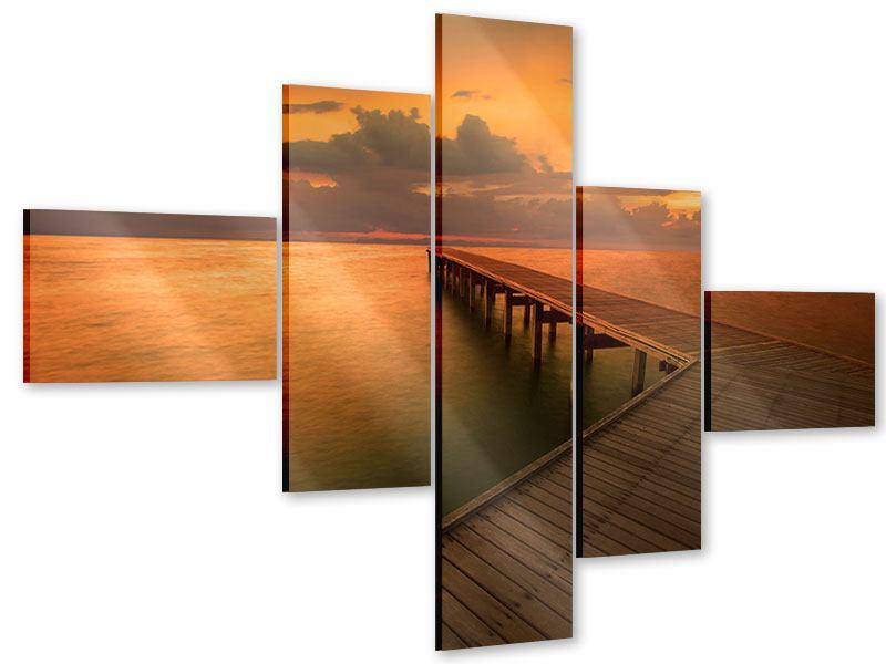 Acrylglasbild 5-teilig modern Der Steg am Meer