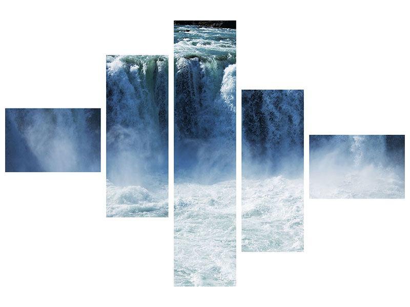 Acrylglasbild 5-teilig modern Mächtiger Wasserfall