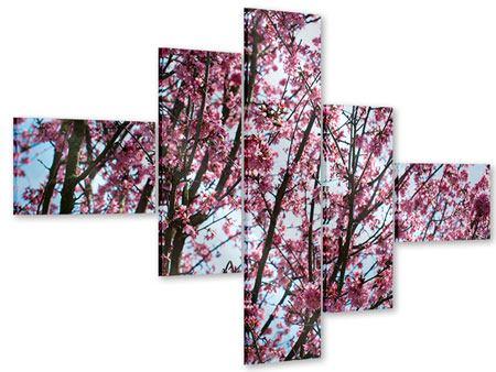 Acrylglasbild 5-teilig modern Japanische Blütenkirsche