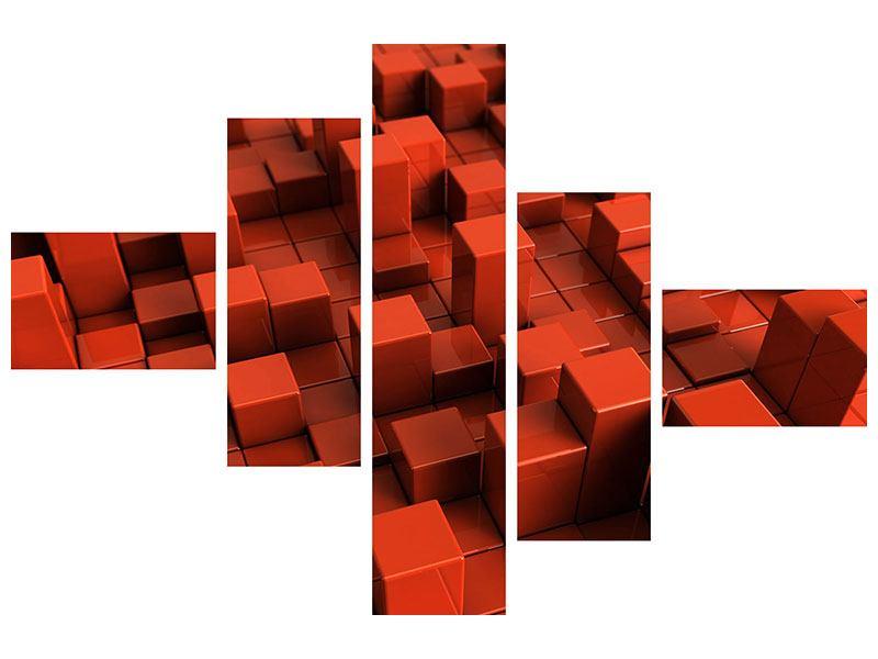 Acrylglasbild 5-teilig modern 3D-Rechtkant