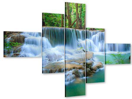 Acrylglasbild 5-teilig modern Kaskaden Huay Mae Khamin