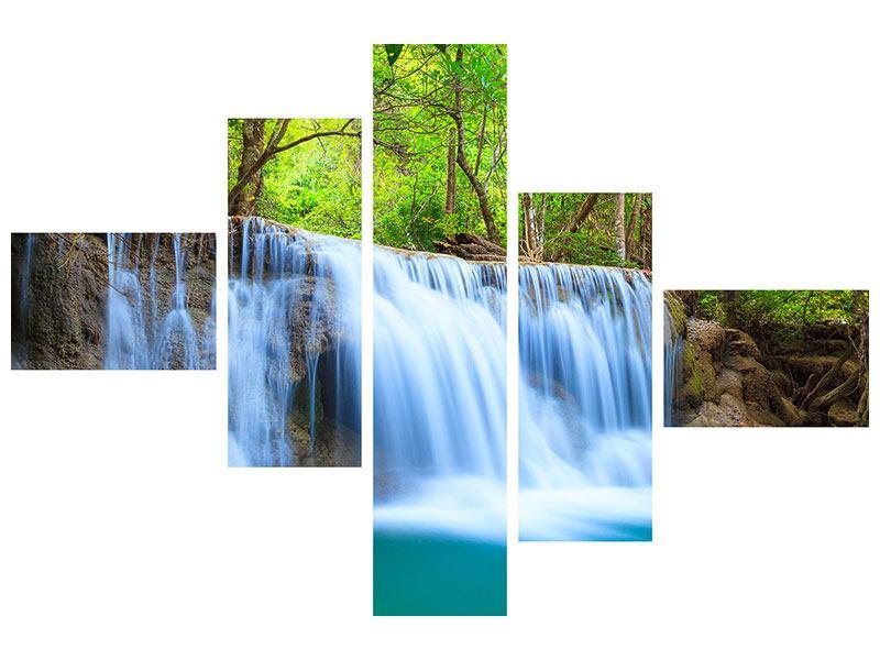 Acrylglasbild 5-teilig modern Wasserfall Si Nakharin