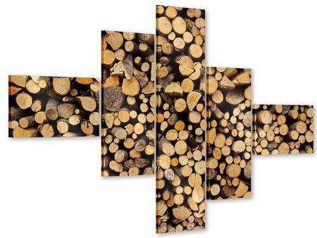 Acrylglasbild 5-teilig modern Brennholz