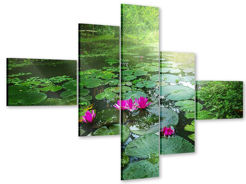 Acrylglasbild 5-teilig modern Gartenteich