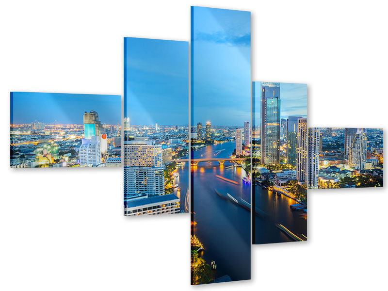 Acrylglasbild 5-teilig modern Skyline Bangkok in der Abenddämmerung