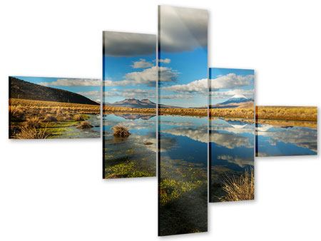 Acrylglasbild 5-teilig modern Wasserspiegelung am See