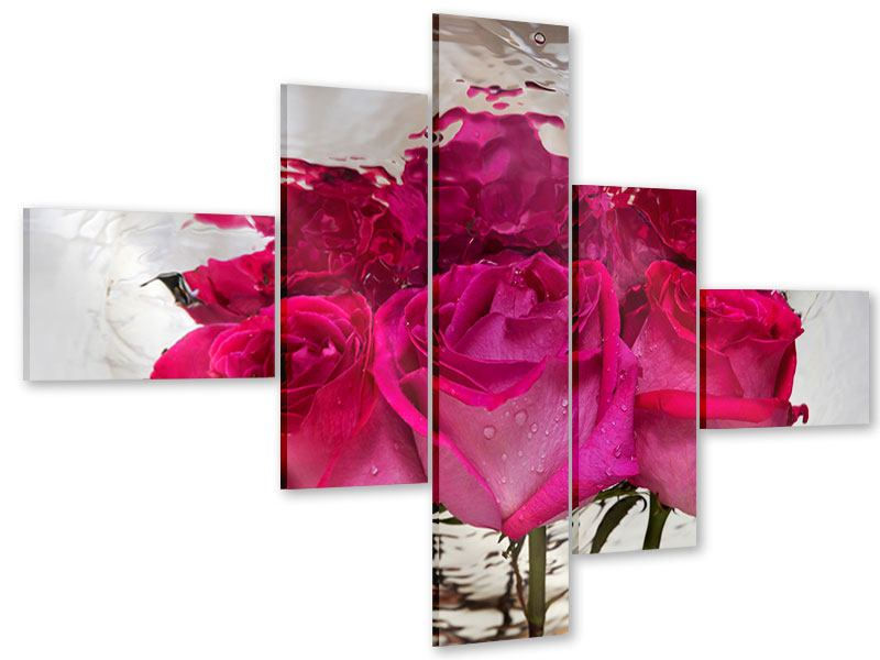 Acrylglasbild 5-teilig modern Die Rosenspiegelung