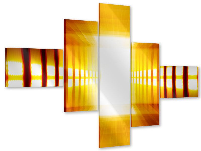 Acrylglasbild 5-teilig modern Abstrakter Goldener Raum