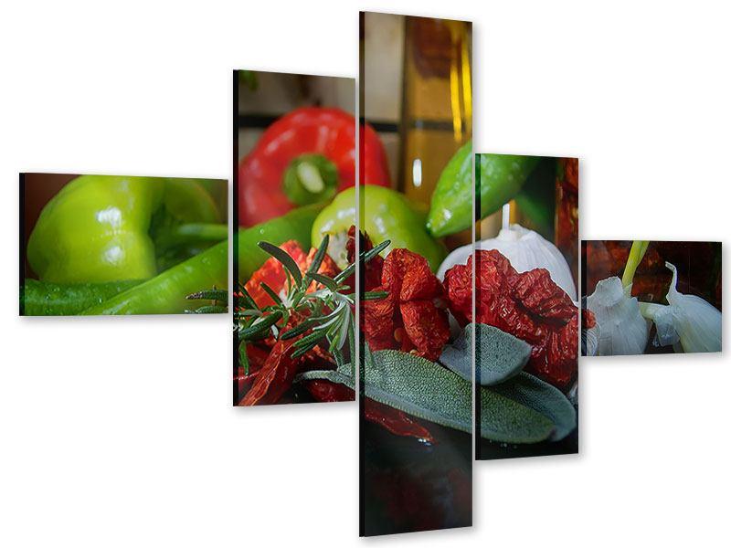 Acrylglasbild 5-teilig modern Mediterranes Gemüse