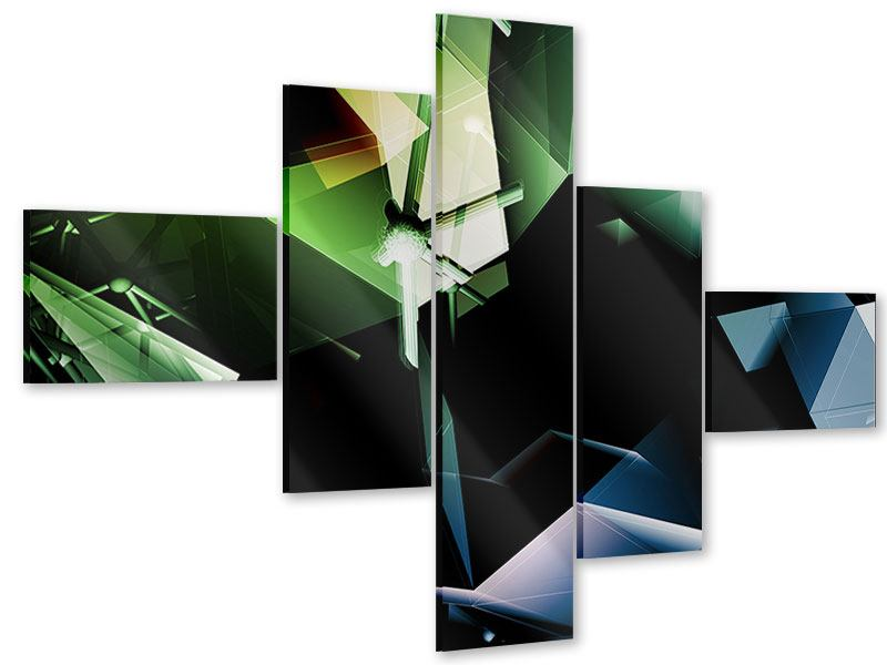 Acrylglasbild 5-teilig modern 3D-Polygon