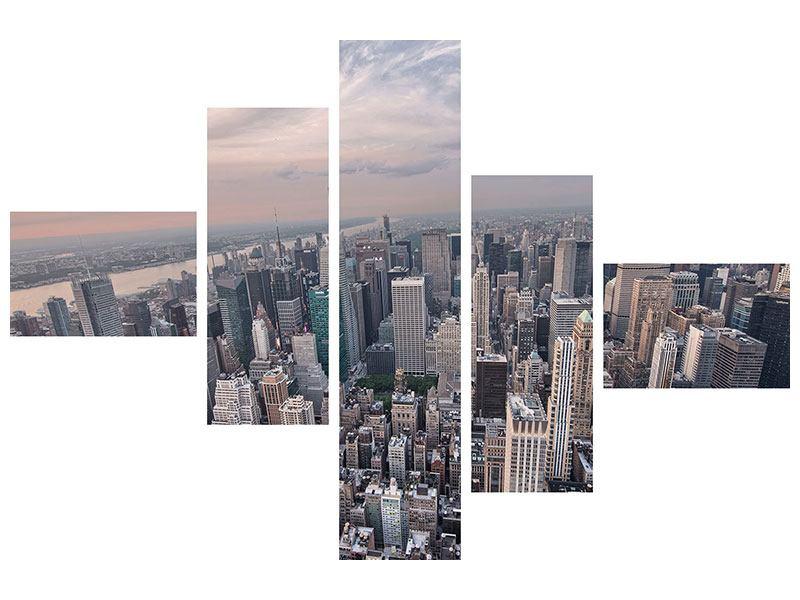 Acrylglasbild 5-teilig modern Skyline Blick über Manhattan