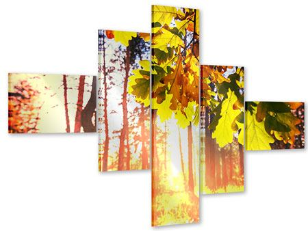 Acrylglasbild 5-teilig modern Herbst