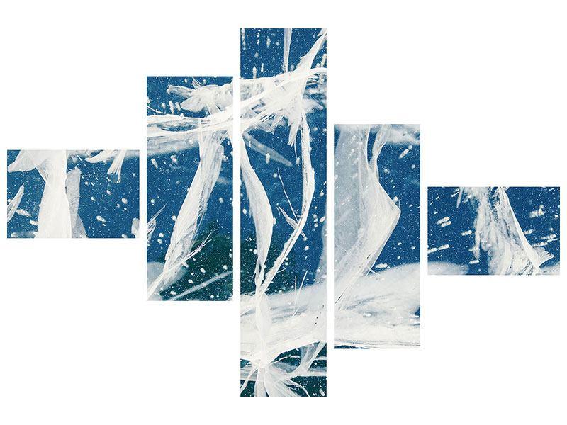 Acrylglasbild 5-teilig modern Eiskristalle