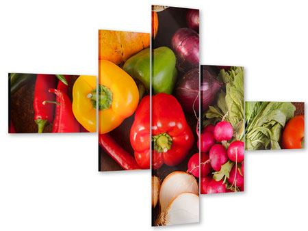 Acrylglasbild 5-teilig modern Gemüsefrische
