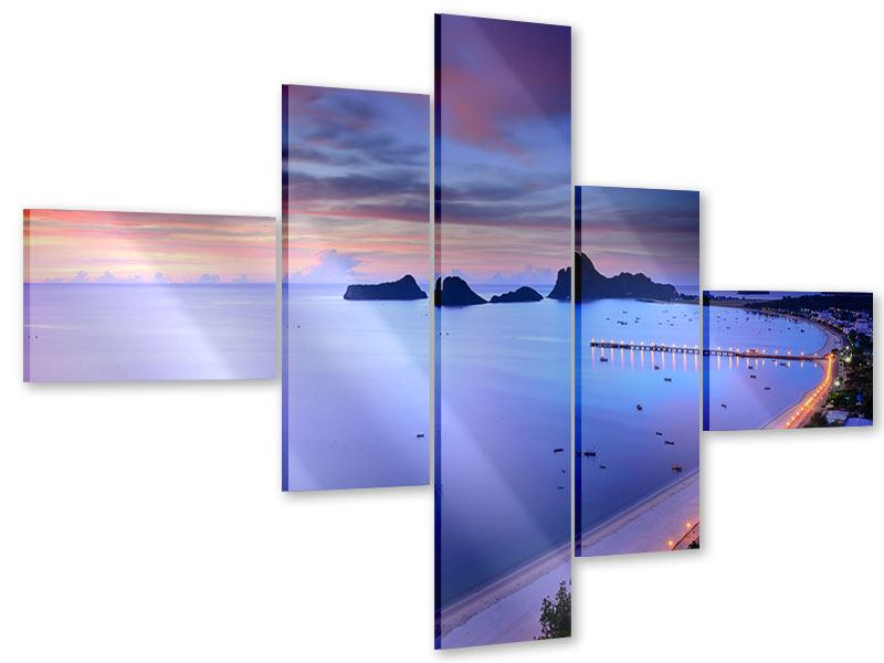 Acrylglasbild 5-teilig modern Ano Manao Bucht