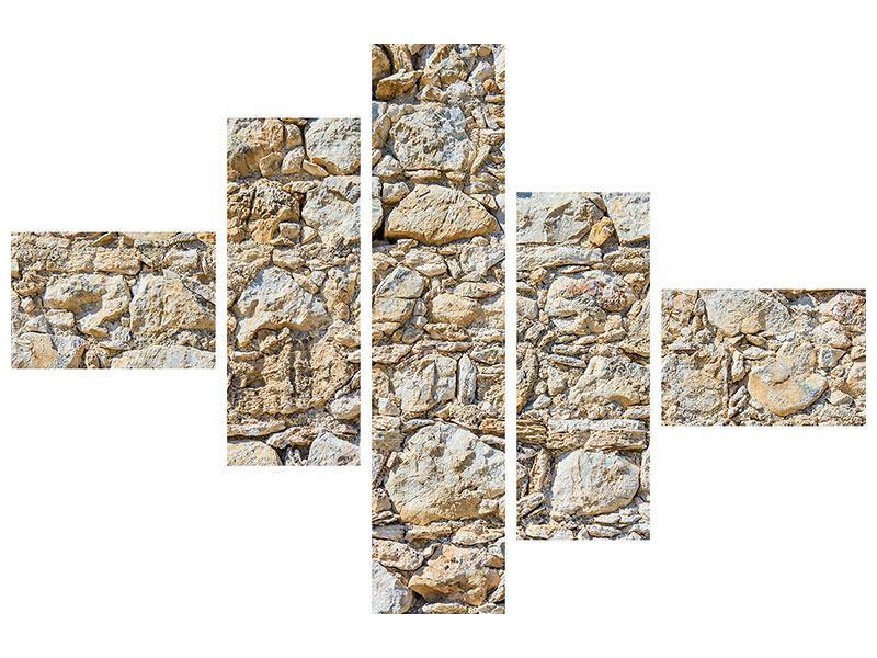 Acrylglasbild 5-teilig modern Sandsteinmauer