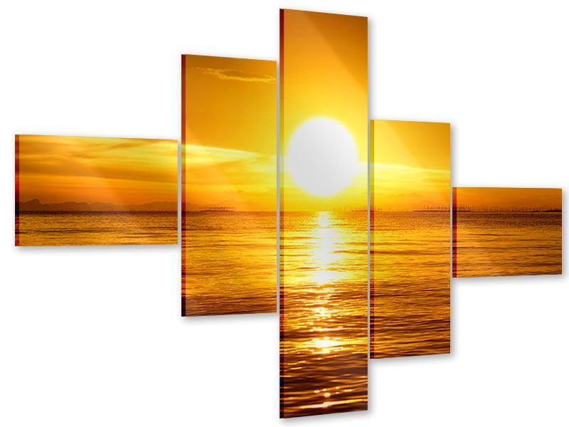 Acrylglasbild 5-teilig modern Traumhafter Sonnenuntergang