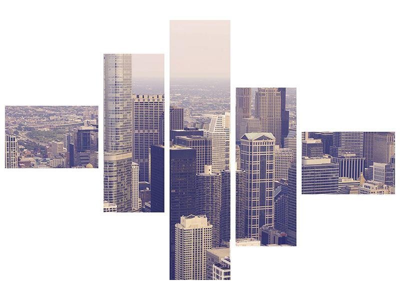 Acrylglasbild 5-teilig modern Skyline Chicago in Sepia