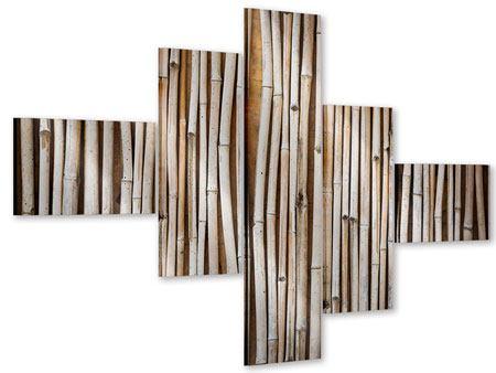 Acrylglasbild 5-teilig modern Getrocknete Bambusrohre