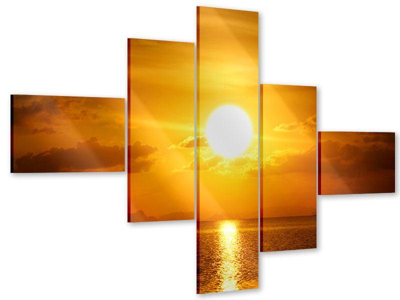 Acrylglasbild 5-teilig modern Sonnenuntergang See