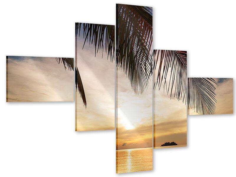 Acrylglasbild 5-teilig modern Strandpalme