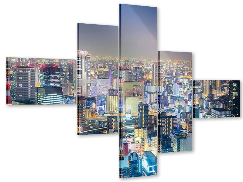 Acrylglasbild 5-teilig modern Skyline Osaka bei Sonnenuntergang