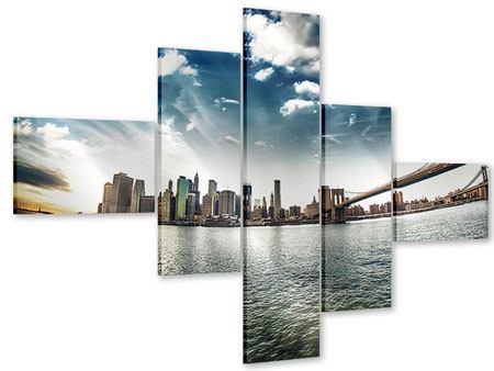 Acrylglasbild 5-teilig modern Brooklyn Bridge From The Other Side