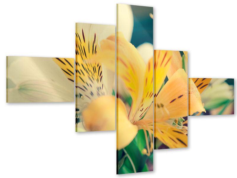 Acrylglasbild 5-teilig modern Tigerlilien