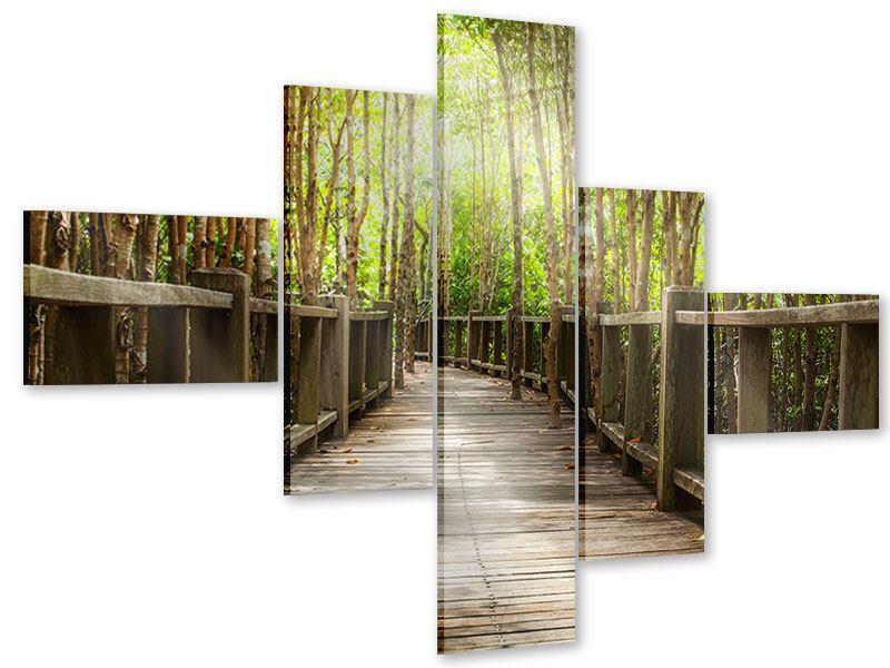 Acrylglasbild 5-teilig modern Hölzerne Brücke