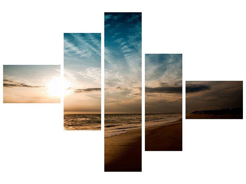 Acrylglasbild 5-teilig modern Strandspaziergang