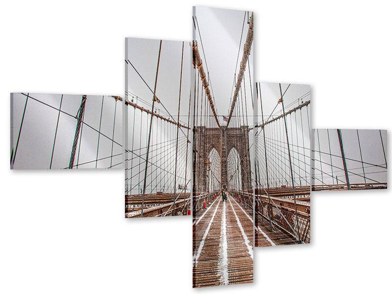 Acrylglasbild 5-teilig modern Auf der Brooklyn Bridge
