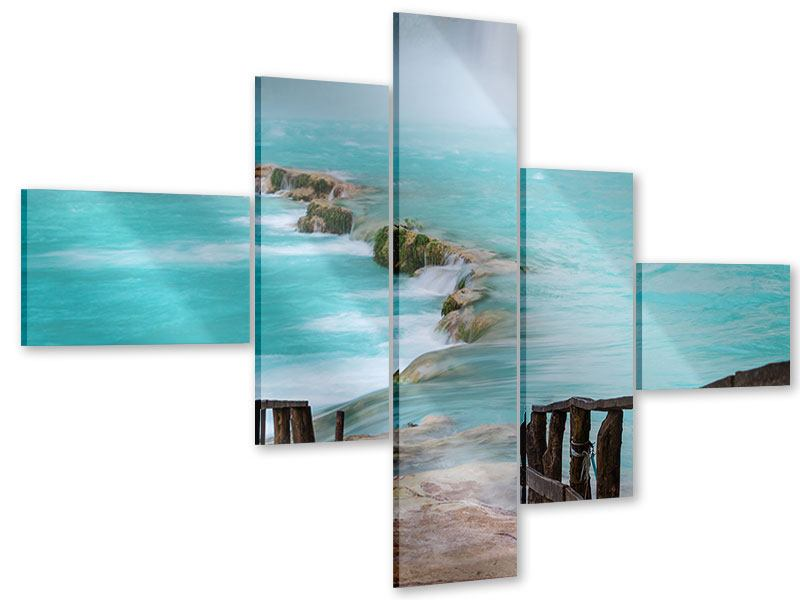 Acrylglasbild 5-teilig modern Haus am Wasserfall