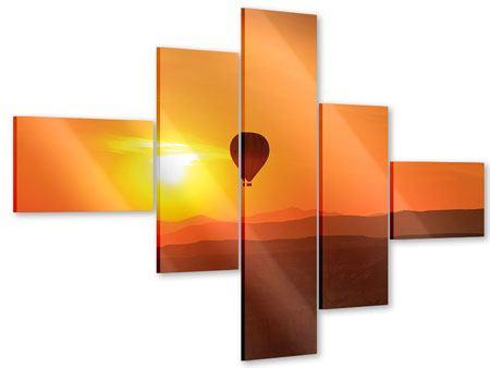 Acrylglasbild 5-teilig modern Heissluftballon bei Sonnenuntergang