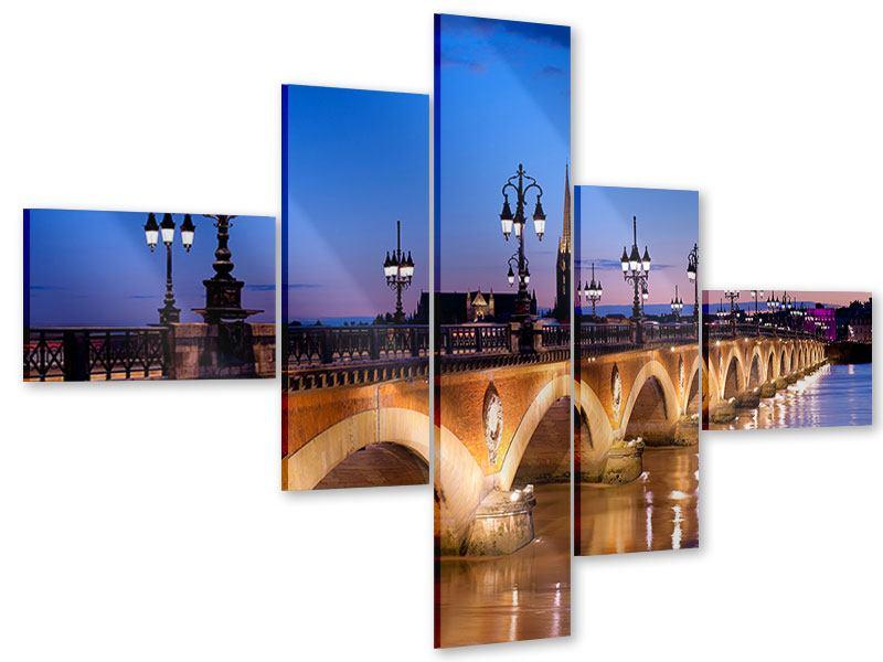 Acrylglasbild 5-teilig modern Pont De Pierre bei Sonnenuntergang